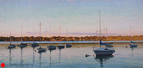 Sailboats, Lake Harriet,   7 x 11 oil on panel. One of my favorite light effects is when the setting sun lights the opposite side of a lake. SOLD