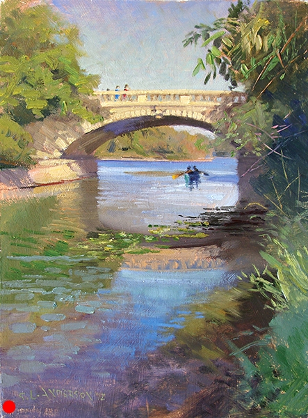 Bridge at Lake of the isles,   12 x 16 oil on panel This lagoon, which connects two lakes in the Uptown area of Minneapolis, offered much to paint: canoes, reflections and lilypads. SOLD