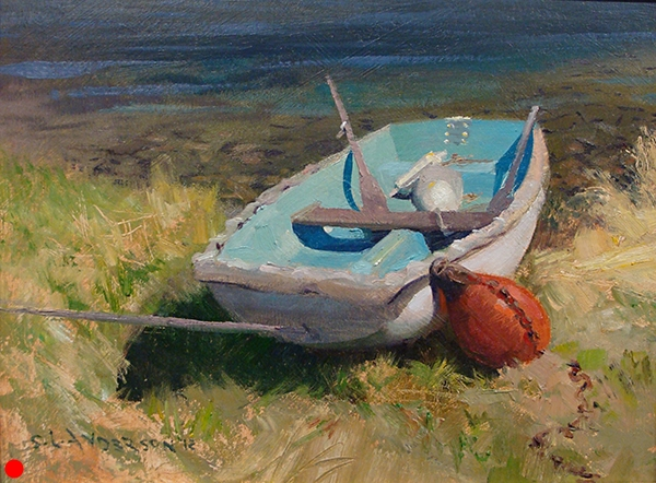 Aqua Petit, 12 x 16 oil on panel Painted in Fish Creek, Wisconsin. I loved the challenge of drawing the perspective on this sweet little dingy. It had sneaky, subtle, elegant curves that belied its humble appearence.