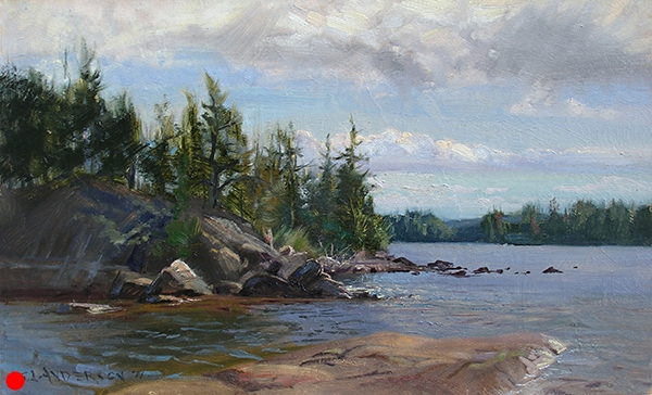 A Little Island, Seagull Lake,    12 x 20 oil on panel When I was motoring through this little channel, my outboard's propeller hit some rocks. So I figured this was a good place to paint. Beautiful clouds and a variety of nicely shaped rocks. From this point west (to the right in the picture), is the nearly pristine, no-motors-allowed Boundary Waters Canoe Area Wilderness. SOLD