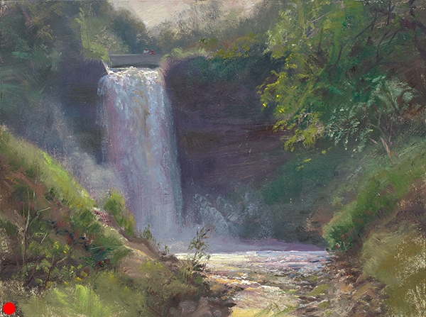 Summer, Minnehaha Falls 1  , 12 x 16 oil on panel A favorite subject of mine here in Minneapolis, I realized that I've almost exclusively painted the falls in winter. Past summers have been so dry that the trickle just wasn't interesting.The summer of 2011 has been plenty wet. We've had so much rain, I wish we could send some to our friends in drought stricken areas.