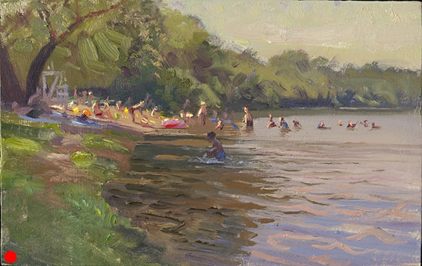 South Beach,  7 x 11 oil on panel No, not Miami. Lovely Lake Harriet in Minneapolis. I liked the wet figures coming in and out of the shadows. SOLD