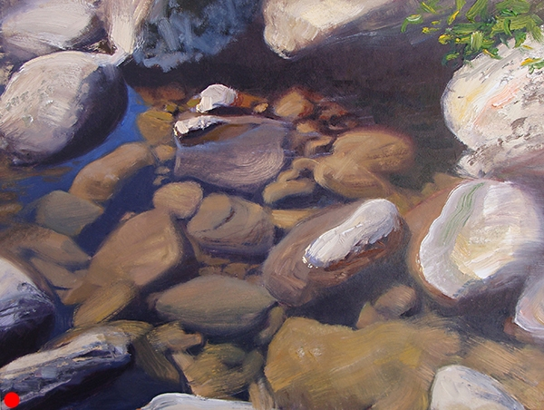 Sun, Water, Rocks 1,  12 x 16 oil on panel This is a study of the effects of reflection, transparency, and sun on water. SOLD