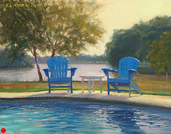 His and Hers,    16 x 20 oil on panel This was painted during a plein air event in Easton, Maryland, on the eastern shore. My hosts had a refreshing backyard pool that I just had to be near, with the humidity and temps near 100.