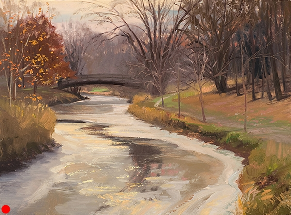 First Freeze on Minnehaha Creek , 12 x 16  oil on panel My first venture out in the cold that year, the creek was just starting to freeze over. I like drawing the perspective of the patterns of water and ice fading into the distance. SOLD
