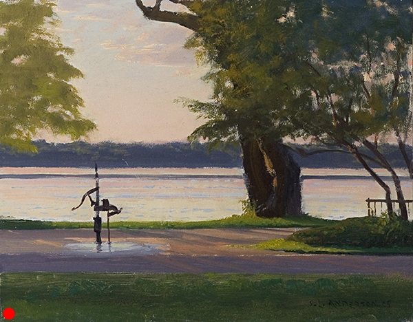 Lake Harriet Water Pump , 11 x 14 oil on panel SOLD