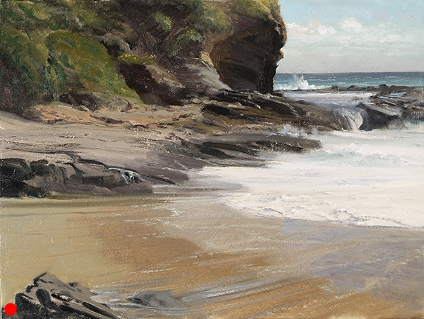 Laguna Shore 2006 , 12 x 16 oil on panel Earlier on this day, I had enjoyed lunch with painter John Cosby, and he was gracious enough to give me a critique of paintings I had done that week. He said I needed to work on my surf, so I went out and painted this. SOLD