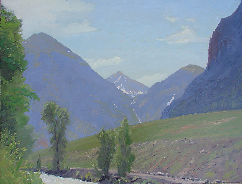 Rocky Mountain Air , 12 x 16 oil on panel Painted midday, looking into the box canyon that holds the town of Telluride, Colorado.
