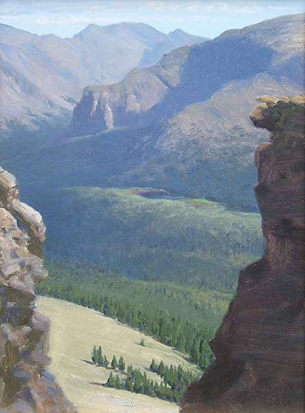 Forest Lake, Viewed from the Rock Cut, Rocky Mountain National Park , 12 x 16  oil on panel
