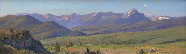 Morning on Sneffles Range , 7 x 24 oil on panel