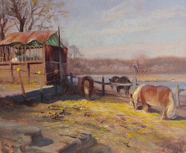 Shetlands, Spring , 8 x 10 oil on panel These furry critters are cute, but the bright yellow hay on the rich, poopy mud was truly beautiful.