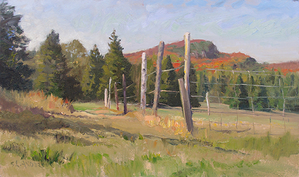 Minnesota Mountain, Fall , 12 x 20 oil on panel Painted in Cook County, Minnesota in late September when the maples were peaking. The wire fence interrupts the splendor of the colors on the mountain, but that's the way life goes sometimes.
