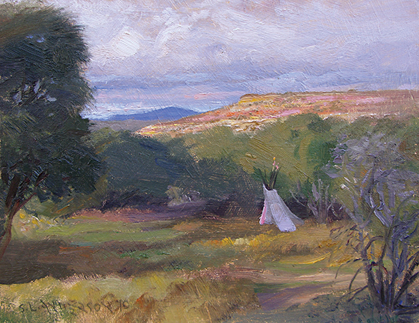 Tipi at Cottonwood , 8 x 10 oil on panel I love when the sun comes out late on a rainy day and deep blue clouds hang on to the horizon. They make a gorgeous backdrop for the sunlit ground.