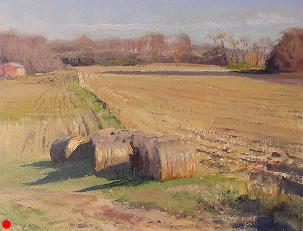 Autumn Haybales , 12 x 16 oil on panel Painted near Victoria, Minnesota. In this country field in midafternoon, the colors were fairly muted. This suited me just fine. I was tired of chasing brightly colored maples around the city. SOLD