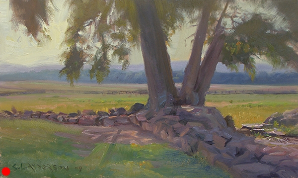 The Angle, Gettysburg , 12 x 20 oil on panel Painted on location at the Hallowed Ground in Pennsylvania. This tree is fairly recent growth, but 146 years ago, on a hot July afternoon, this stone wall is about as far as old Bobby Lee's boys got. The Confederates crossed this mile-long field from the tree line on Seminary Ridge. As I looked across, I tried to imagine what was in their minds as they stepped into the open, knowing it was unlikely they would survive the hour.