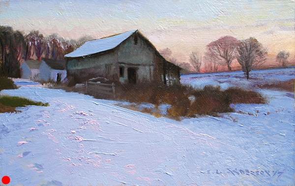 Rustic Barn Painting , 7 x 11 oil on panel Being known as a painter of suburb-scapes and urban construction, it may seem as though I don't like to paint rustic buildings, but barns like this embody so much history — the weathered wood, the encroaching grasses, the tilting creep toward collapse — painting scenes like this is in the DNA of every landscape painter.