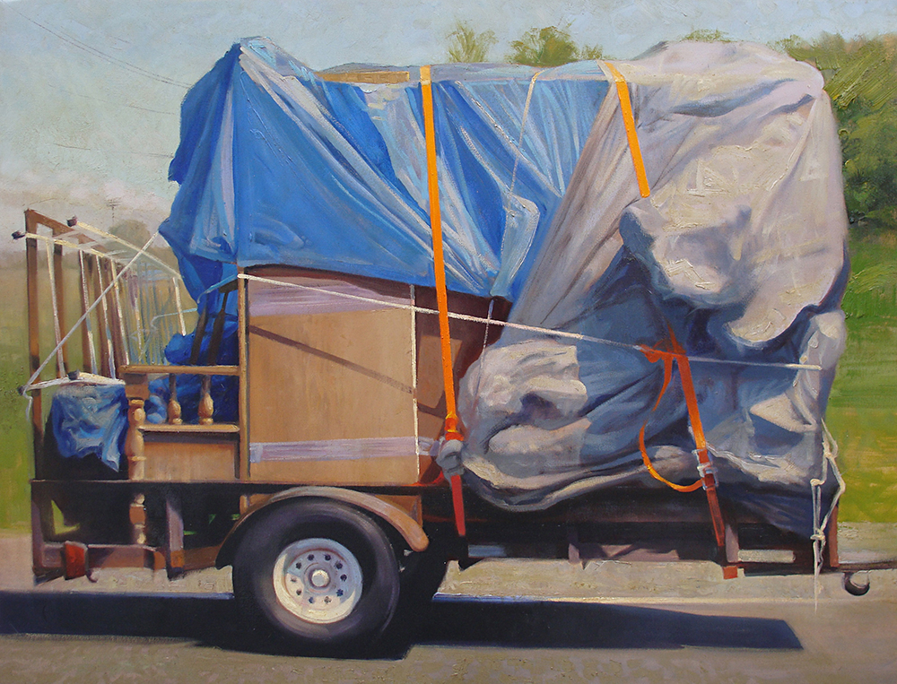 Gotta Move , 30 x 40 oil on canvas A 2-D investigation of 3-D shapes: The wind-rippled tarps tied down with ratchet straps created texture and tension, as did the fine print on page 84 of this unfortunate family's mortgage contract. Honorable Mention, 2013 Minnesota State Fair Fine Arts Exhibition
