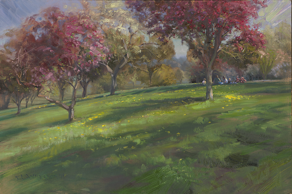 Spring Blossoms in the Park  24 x 36 oil on canvas
