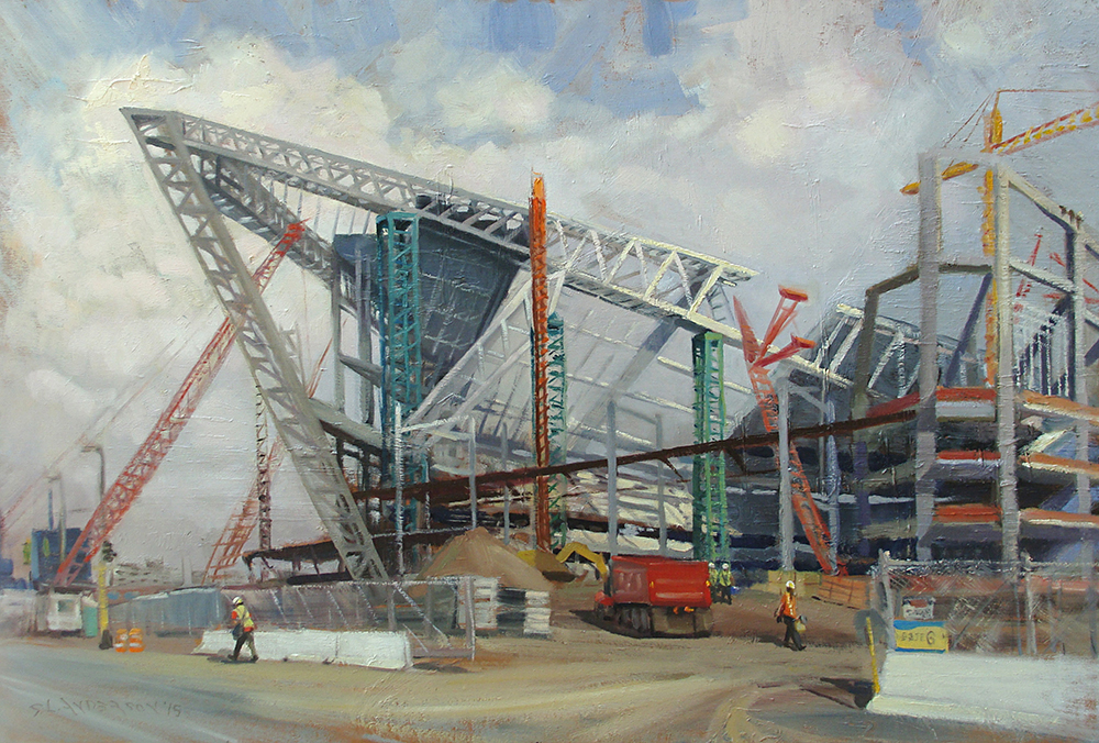 Building the Vikings Stadium  36 x 24 oil on panel