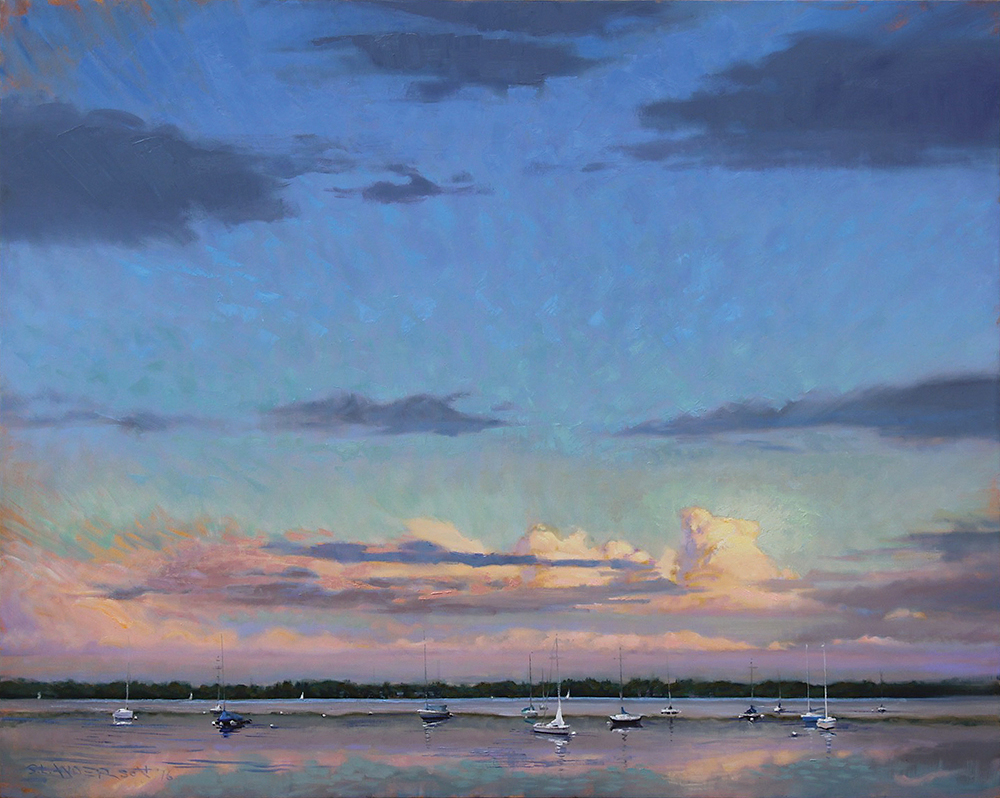 Summer Evening Sailboats  48 x 60 oil on canvas