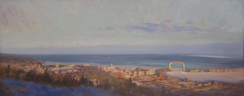 Duluth Overlook, February  26 x 67 oil on canvas