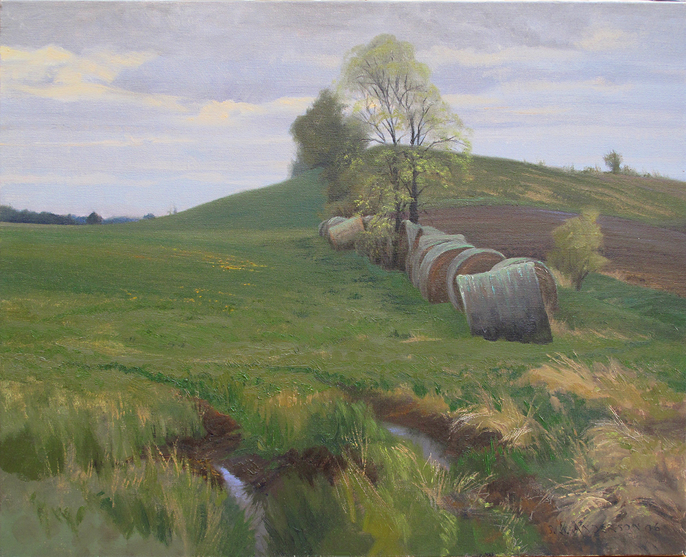 Spring Haybales  24 x 30 oil on linen