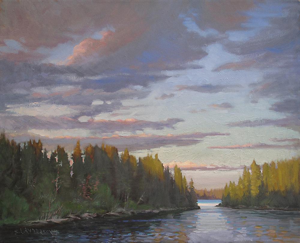 Lake 3 Sunset  24 x 30 oil on canvas