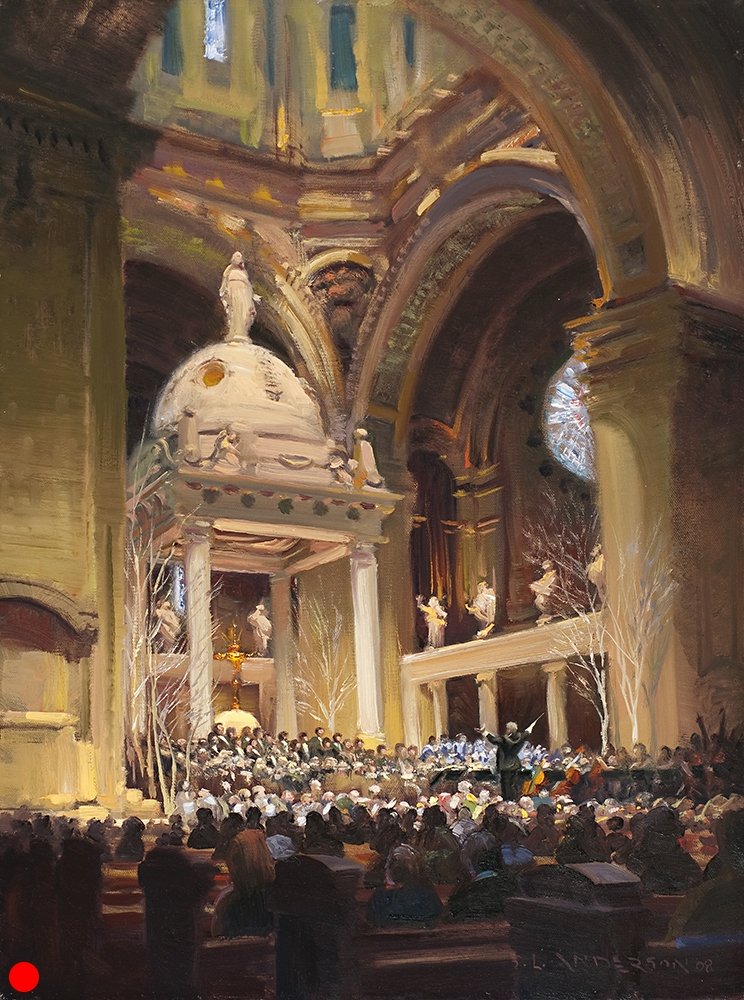 Hallelujah! , 18 x 24 oil on canvas This scene depicts the Minneapolis Southwest High School holiday music program at the Basilica of St. Mary in downtown Minneapolis. For the finale, all the performers—plus anyone else who's itching to sing—gathers on and around the altar/stage to sing Handel's Hallelujah chorus. SOLD