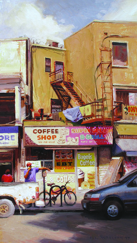 Brooklyn Streetscape  29 x 16 oil on panel