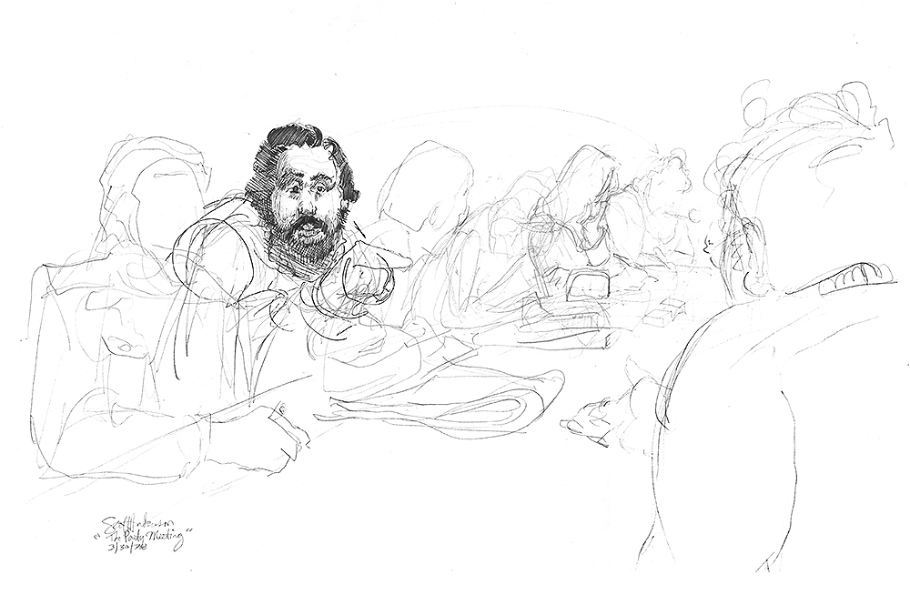 A communist party meeting in Paris. Being an American, they couldn't understand why I was there. I told them I was just drawing (and was a little curious).