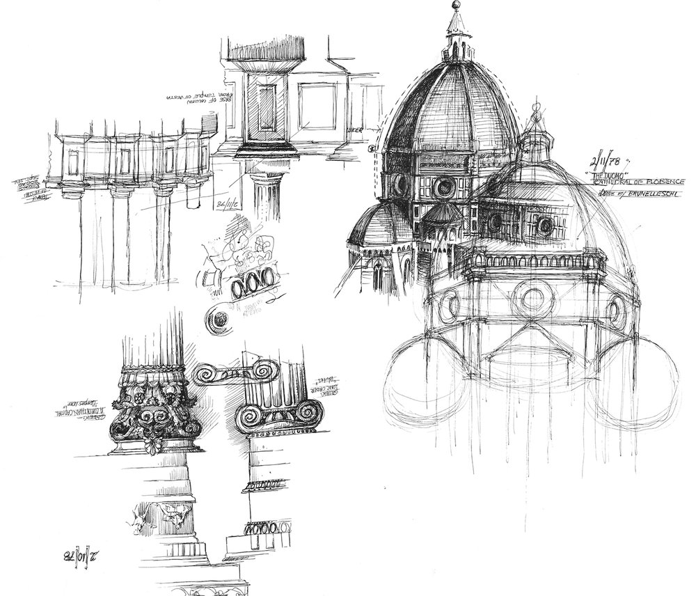 Sketches of various architectural elements in Florence. That's the famous Duomo in upper right.