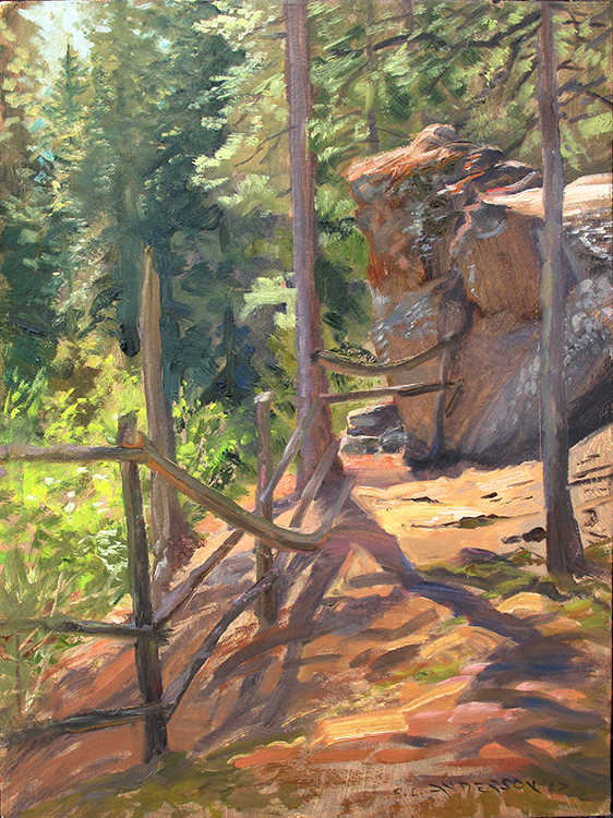 Old Fence Along the High Trail , 16 x 12 oil on panel
