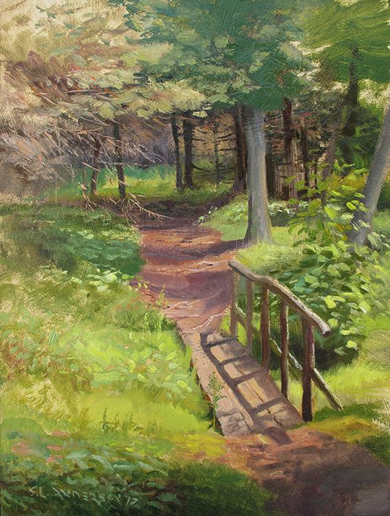 Footbridge in the Woods , 16 x 12 oil on panel