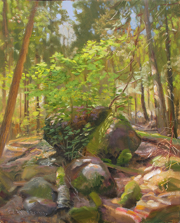 Mossy Rocks in the Woods,  20 x 16 oil on panel