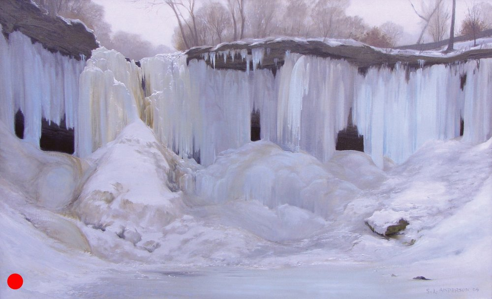 Frozen Minnehaha Falls , 50 x 72 oil on canvas