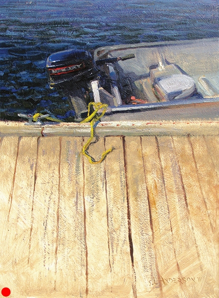 15-Horse Merc , 12 x 16 oil on panel Verticals, horizontals, blips of primary colors — all sitting on Hungry Jack Lake. I'm a happy camper when I can find unusual ways to present everyday subjects. Awarded the top prize at the 2011 Grand Marais, Minnesota plein air event. SOLD