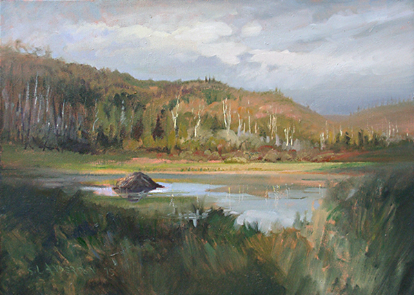 Tuscarora Lodge  , 18 x 24 oil on canvas Painted in the fall along the Gunflint Trail in northern Minnesota. Beaver knows where to build a nice place.