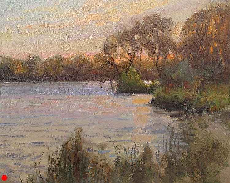 Sun Setting on the Mississippi , 8 x 10, oil on panel Painted on location just north of the dam near Anoka.