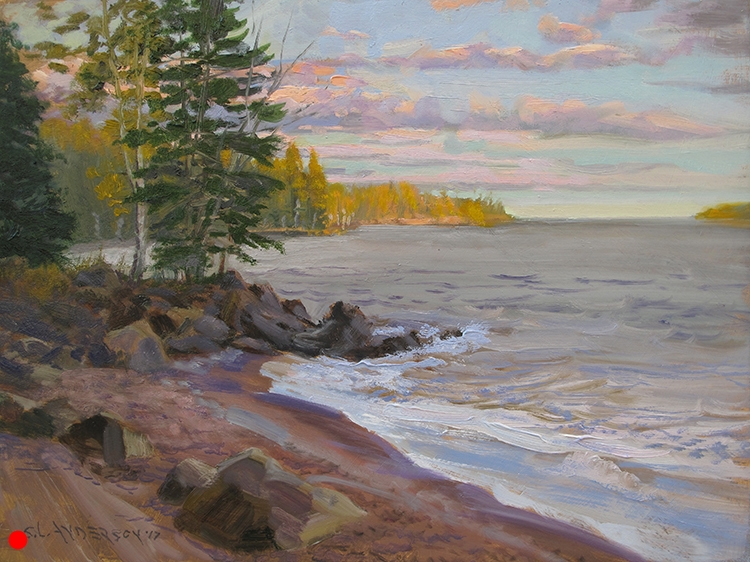 """Last Light on the North Shore , 12 x 16"""" oil on panel SOLD"""