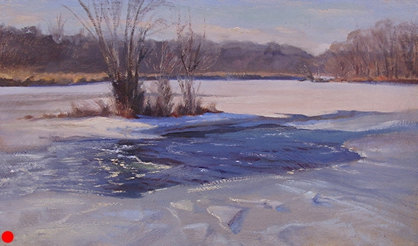 Open Water on the Namekagon , 12 x 20 oil on panel Patches of open water on the ice often creates interesting elliptical shapes. SOLD
