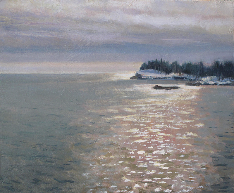 Midday Over the Island , 8 x 10 oil on panel