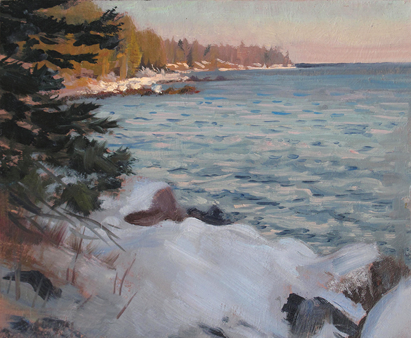 Late Afternoon on the Shore , 8 x 10, oil on panel