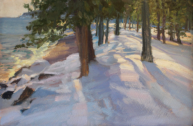 Sunset Shadows , 7 x 11 oil on panel