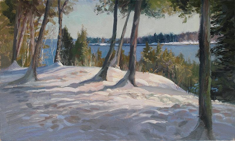 Seeing the Island Through the Trees , 12 x 20 oil on panel