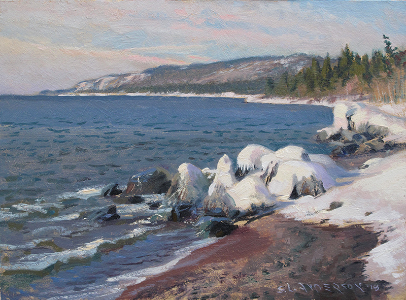 Frosting on the Rocks , 12 x 16 oil on panel