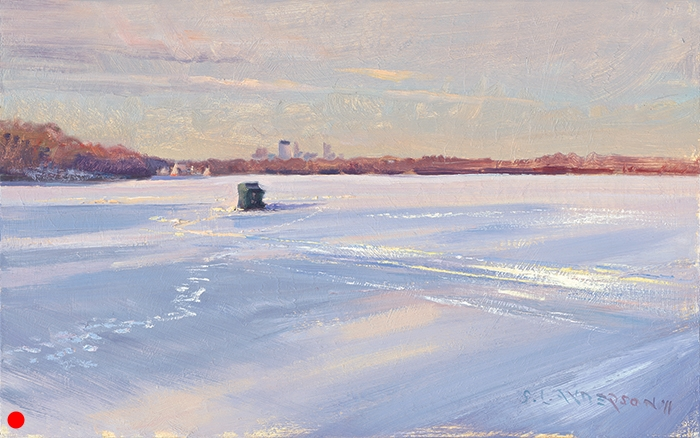 Fish House, Lake Harriet  ,  12 x 20 oil on panel A solitary fisherdude spent the entire time I was painting sitting in this tiny tent. I didn't see him pull anything out of the hole. (SOLD)