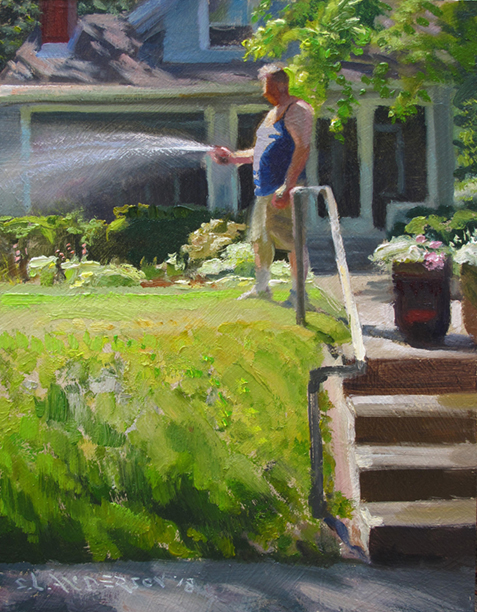 Watering  10 x 8 oil on panel