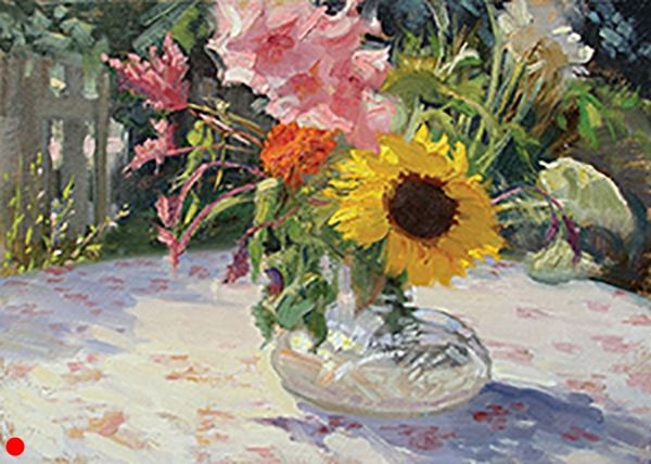 "Backyard Floral , 12 x 16 oil on panel I don't often do florals, but I couldn't resist this chroma and warm sunlight. (This is in my backyard, I live in the city, so,  voila , this is posted under ""cities."") SOLD"