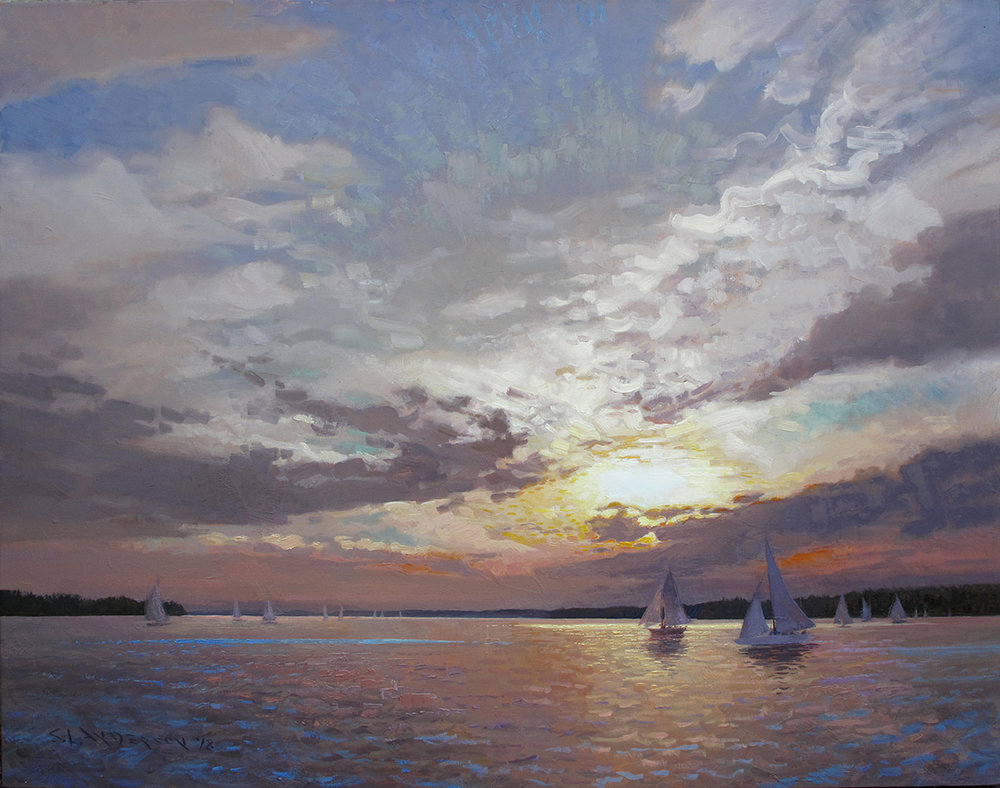 Sailboats at Sunset , 48 x 60 oil on linen
