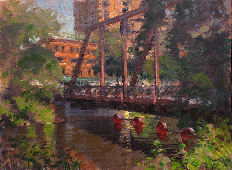 Nicollet Island Bridge, Minneapolis  12 x 16 oil on panel